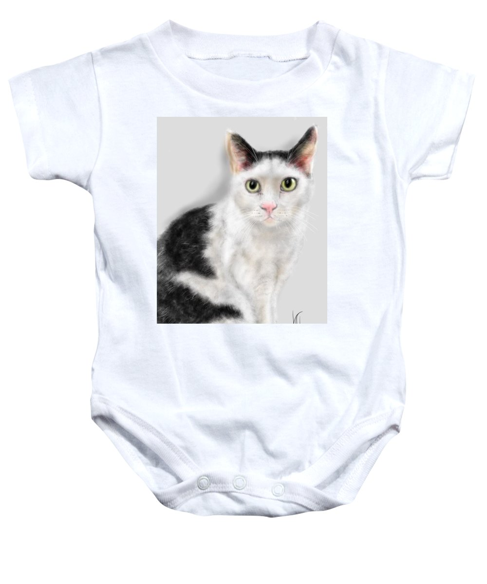 Cat Baby Onesie featuring the painting What Did You Say by Lois Ivancin Tavaf