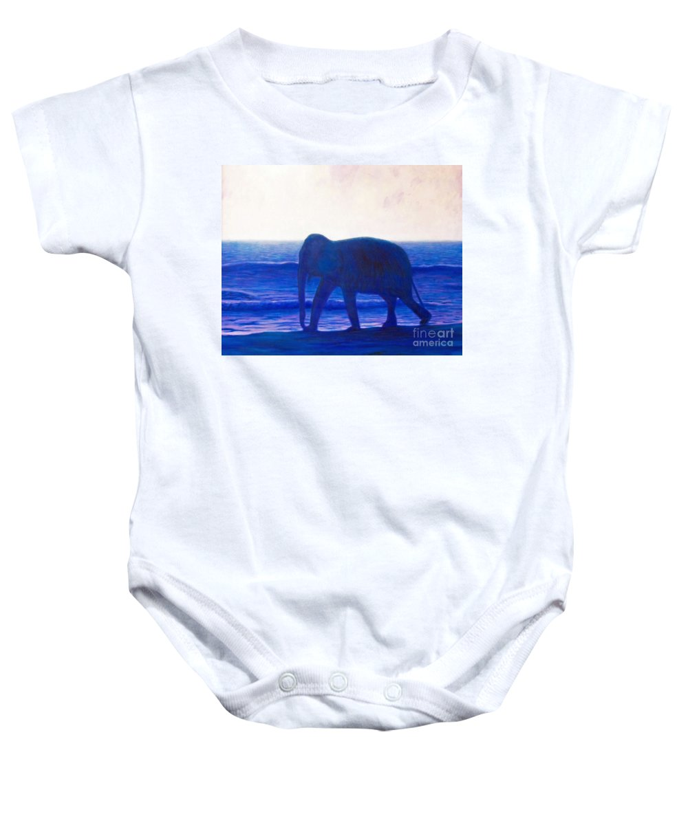 Elephant Baby Onesie featuring the painting When I Was Young by Brian Commerford