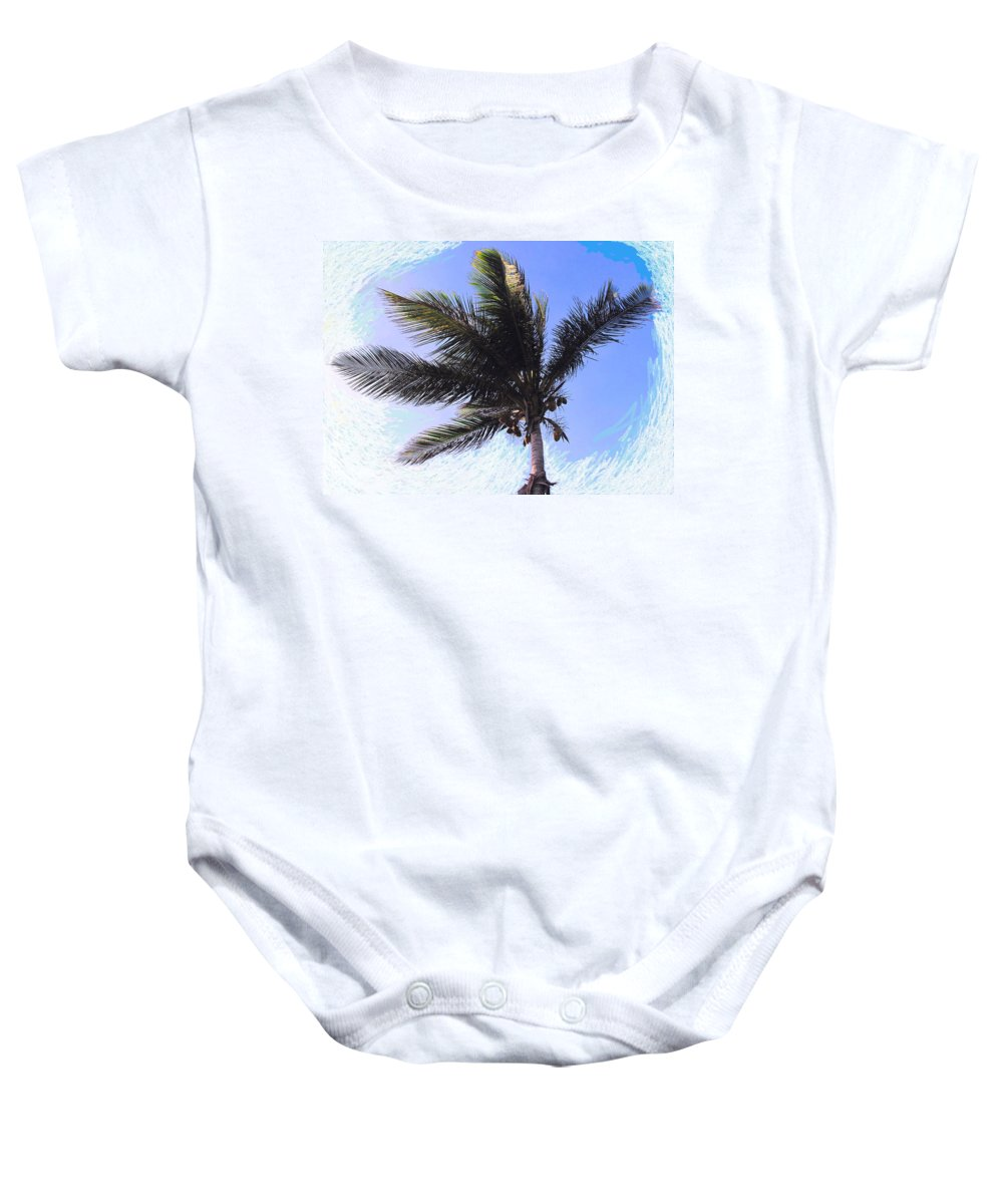Palm Baby Onesie featuring the photograph Where Coconuts Come From by Ian MacDonald