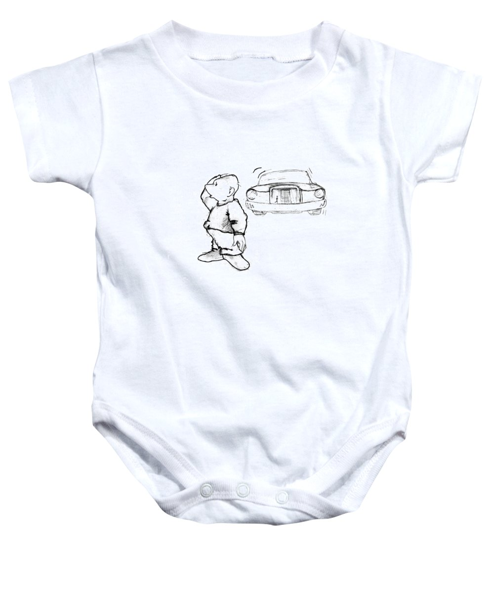 Man Baby Onesie featuring the drawing Where I Am... by Line Gagne