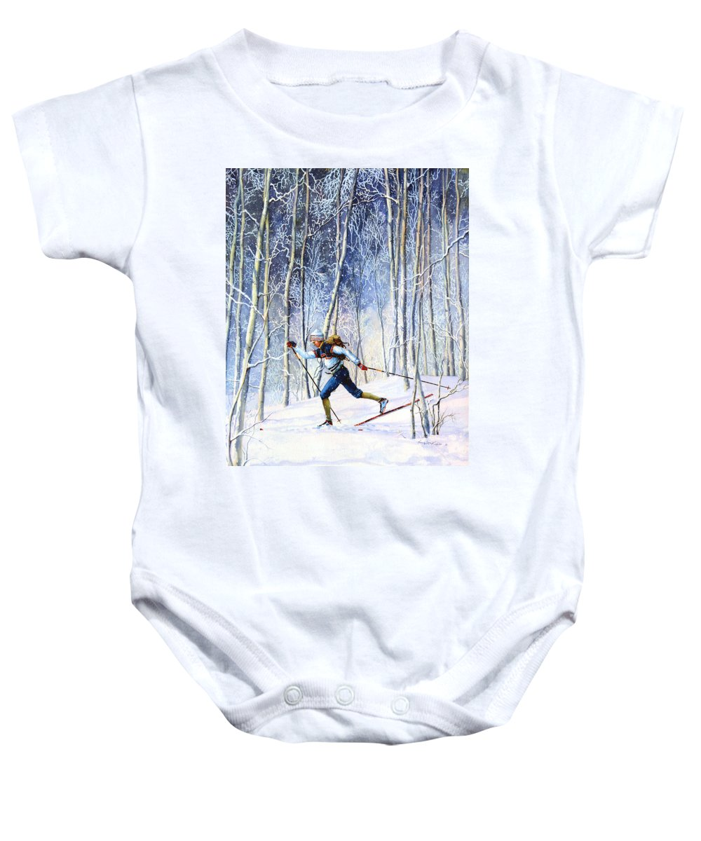 Sports Artist Baby Onesie featuring the painting Whispering Tracks by Hanne Lore Koehler