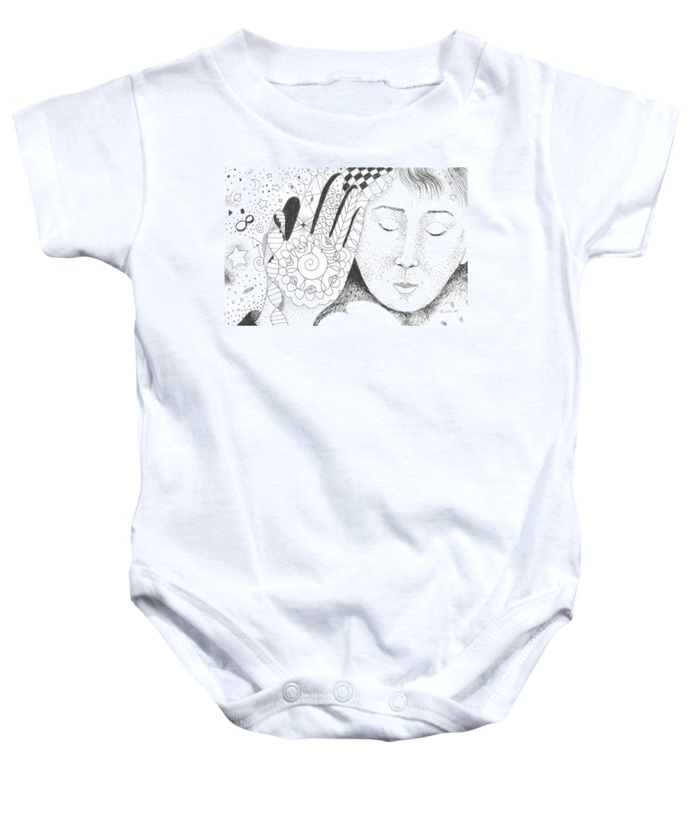 Hand Baby Onesie featuring the drawing Whispers by Helena Tiainen