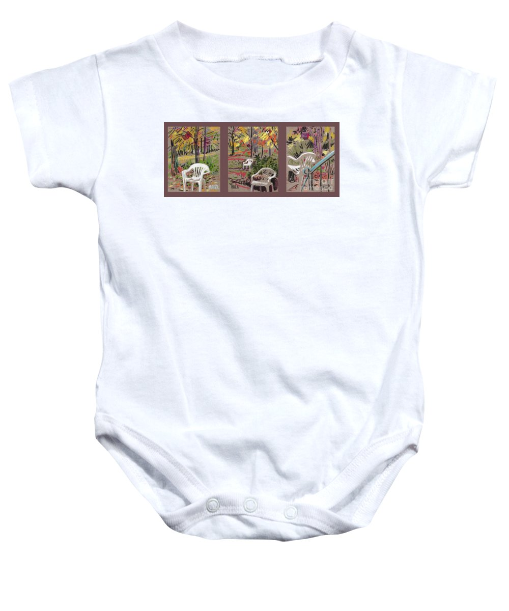 Pastel Baby Onesie featuring the drawing White Chairs And Birdhouses 1 by Donald Maier