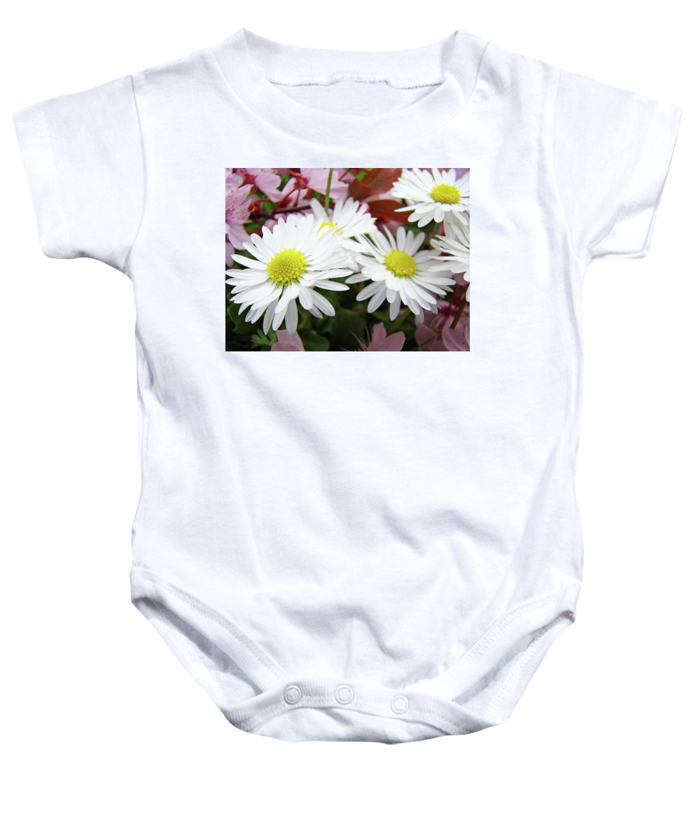 Nature Baby Onesie featuring the photograph White Daisy Floral Art Print Canvas Pink Blossom Baslee Troutman by Baslee Troutman