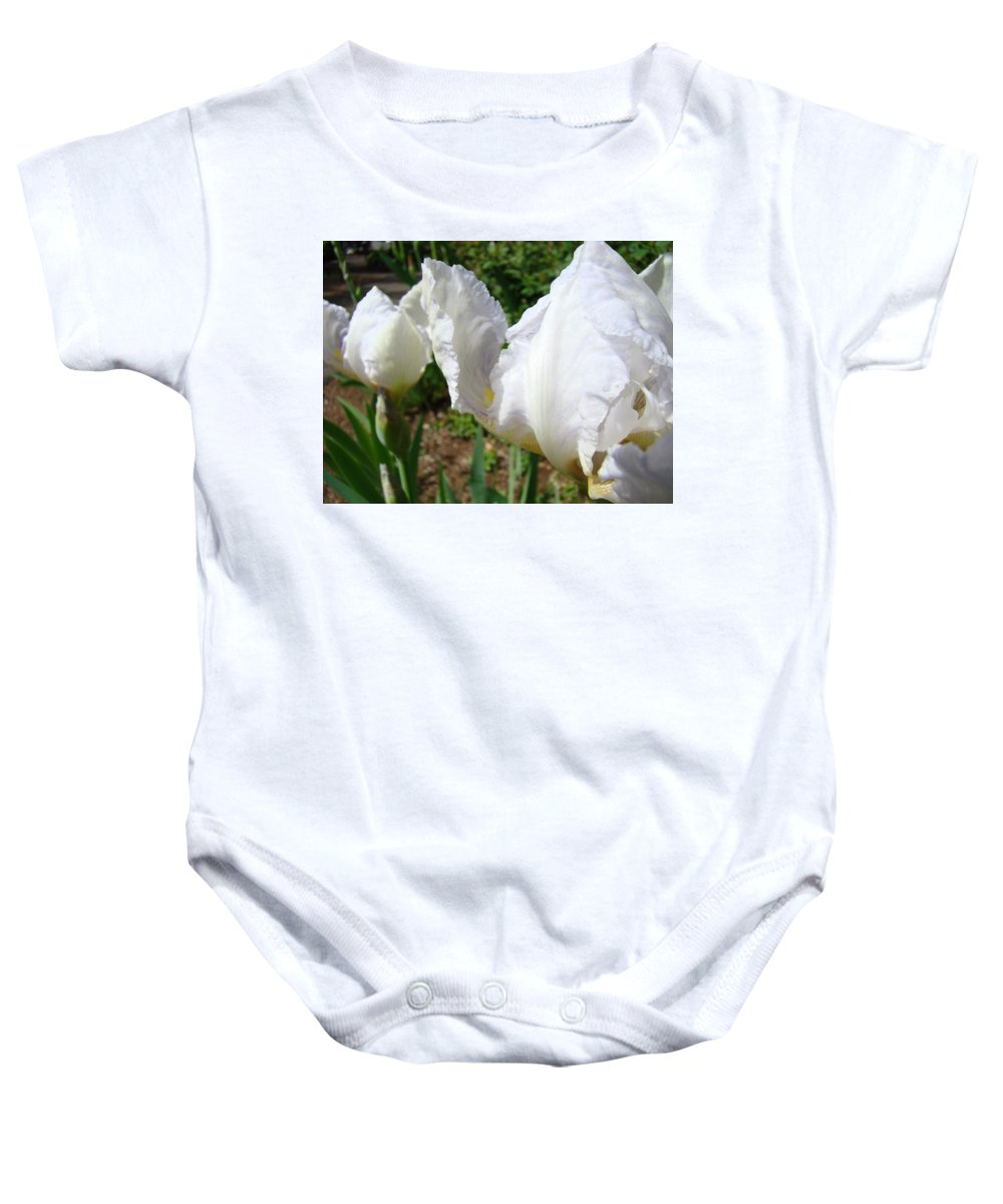 Iris Baby Onesie featuring the photograph White Iris Flowers Art Prints Irises Summer Floral Baslee Troutman by Baslee Troutman