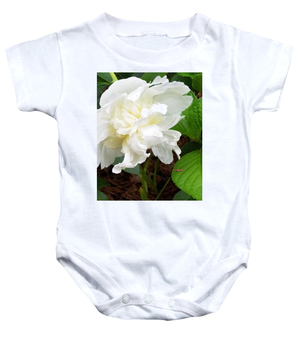 Baby Onesie featuring the photograph White Peonia by Teresa Doran