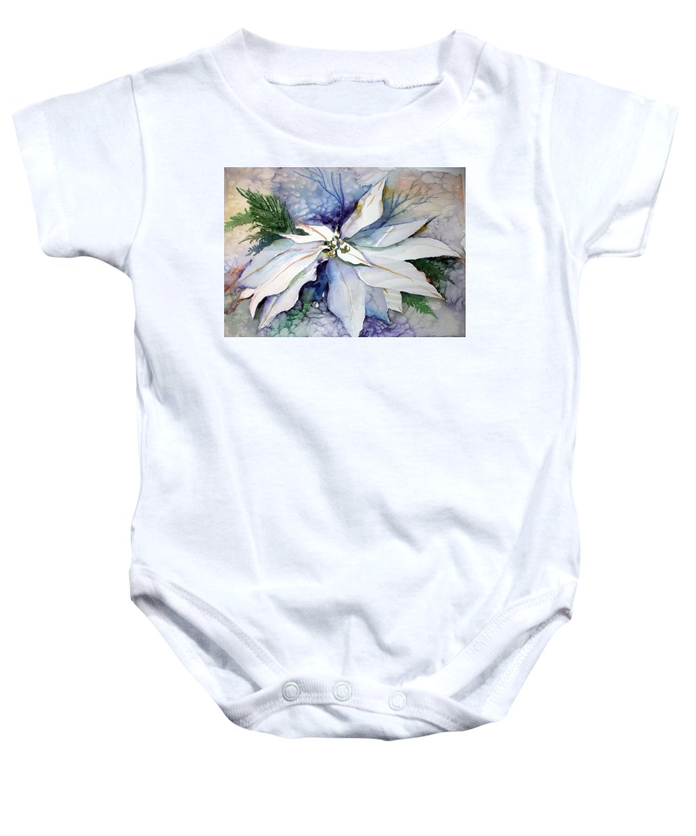 Floral Baby Onesie featuring the painting White Poinsettia by Mindy Newman