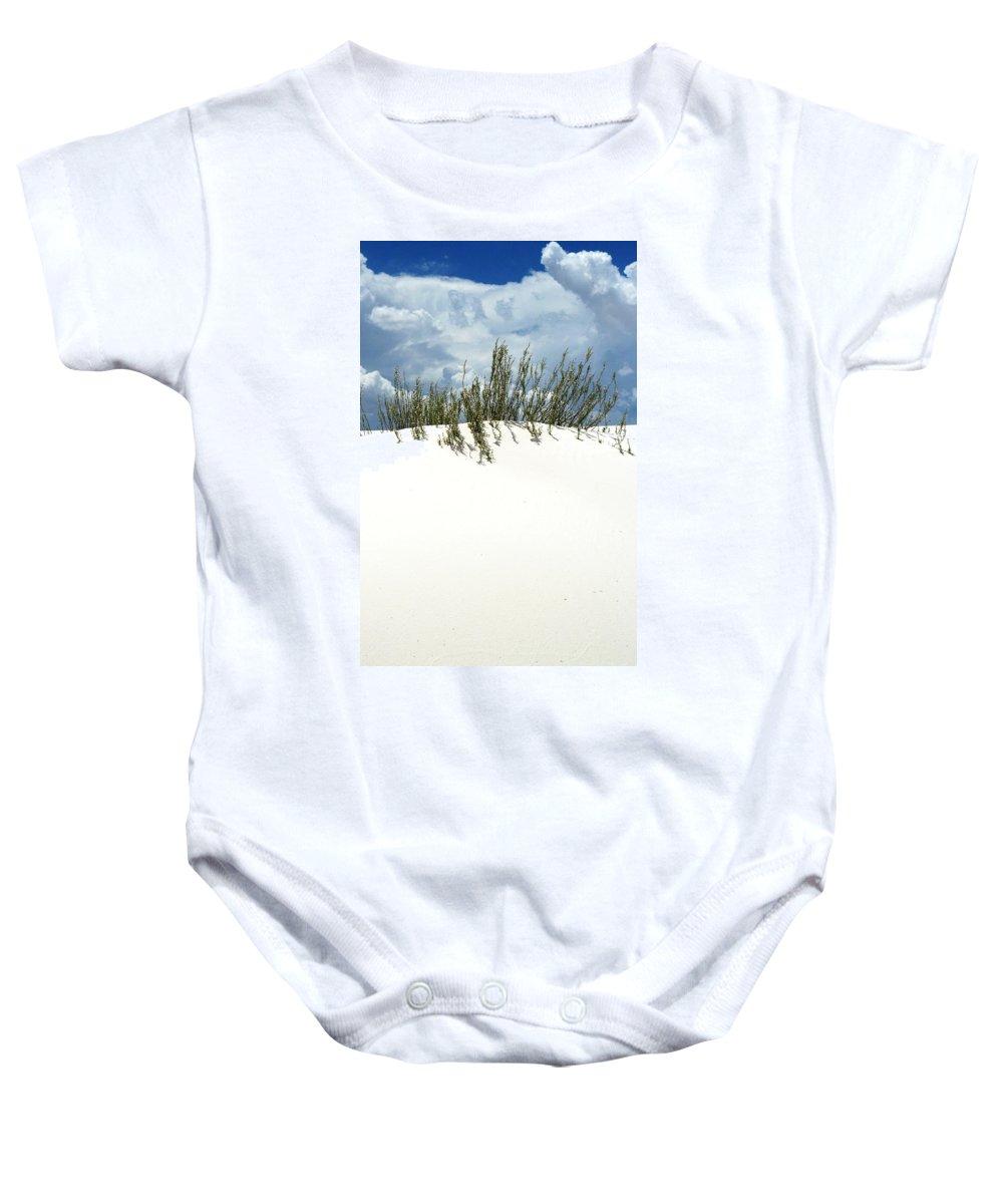 Sand Baby Onesie featuring the photograph White Sand Green Grass Blue Sky by Joe Kozlowski