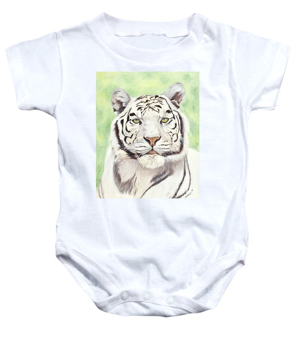 Tiger Baby Onesie featuring the painting White Silence by Shawn Stallings
