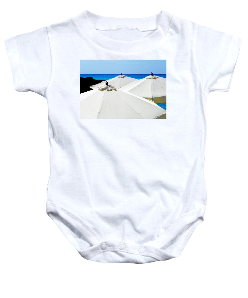 Landscapes Baby Onesie featuring the photograph White Umbrellas by Karen Wiles