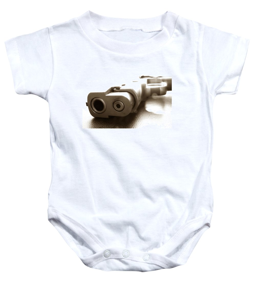 Gun Baby Onesie featuring the photograph Why by Amanda Barcon