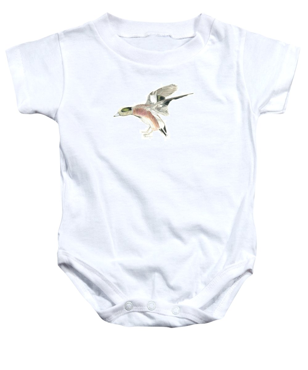 Wigeon Drake Baby Onesie featuring the drawing Wigeon by Sara Stevenson
