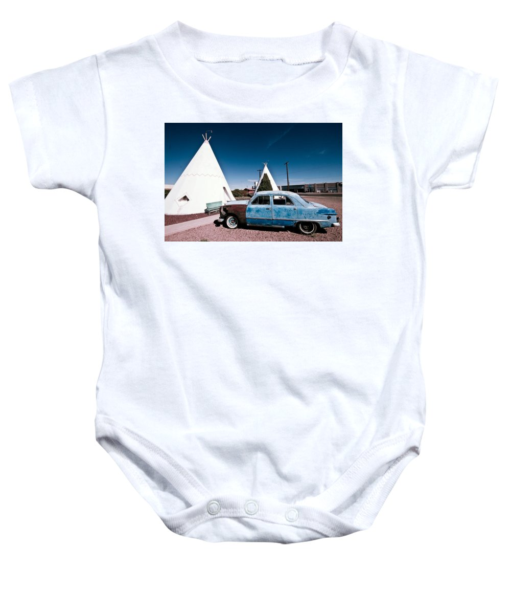 66 Baby Onesie featuring the photograph Wigwam Motel Classic Car #7 by Robert J Caputo