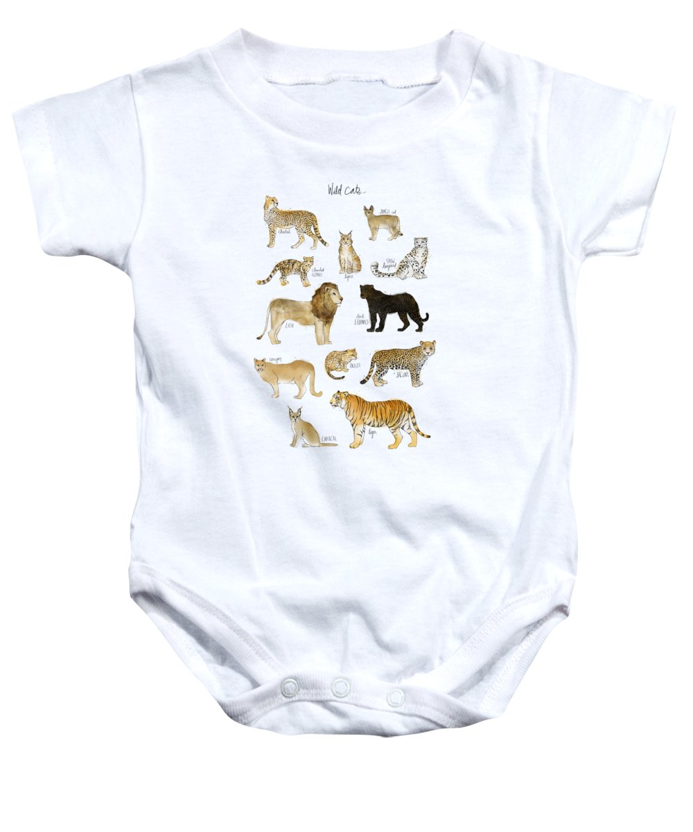 Wild Baby Onesie featuring the painting Wild Cats by Amy Hamilton