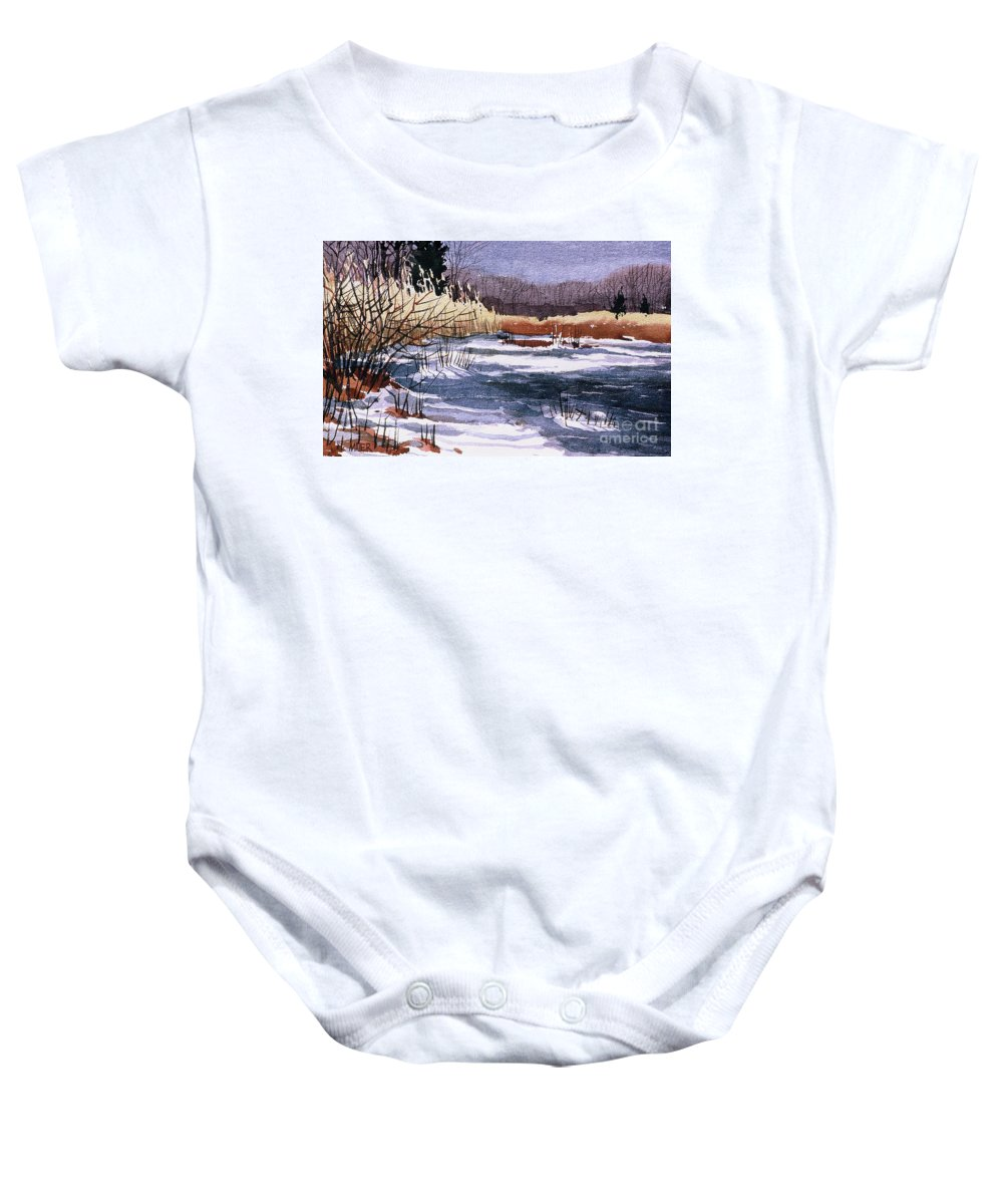 New Jersey Baby Onesie featuring the painting Wildlife Reserve by Donald Maier
