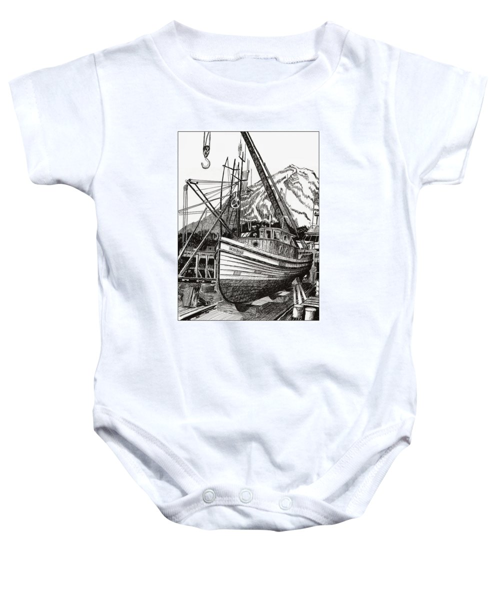 Nautical Shipyard Fishing Boats Baby Onesie featuring the drawing Will Fish Again Another Day by Jack Pumphrey