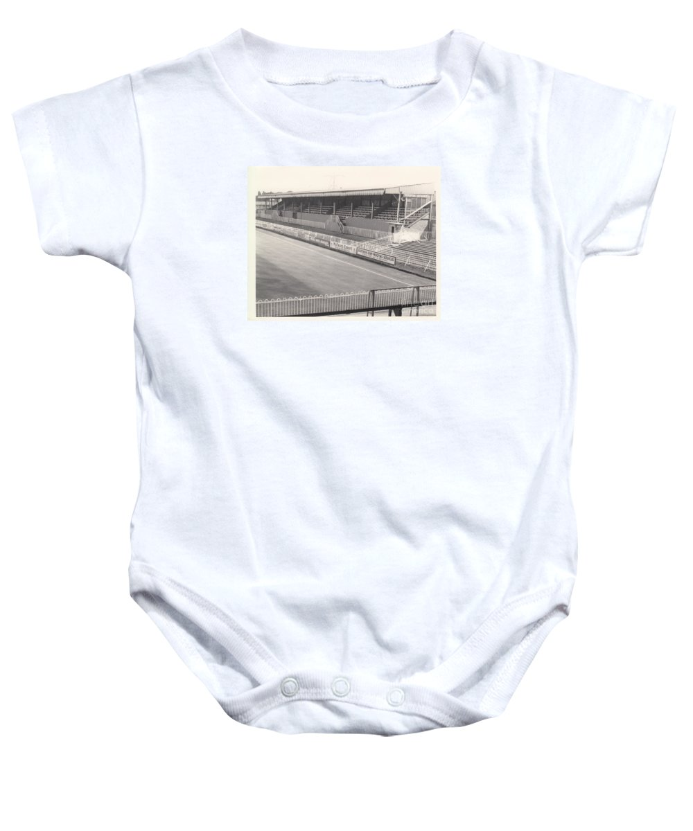 Baby Onesie featuring the photograph Wimbledon Fc - Plough Lane - South Stand 1 - Bw - 1969 by Legendary Football Grounds