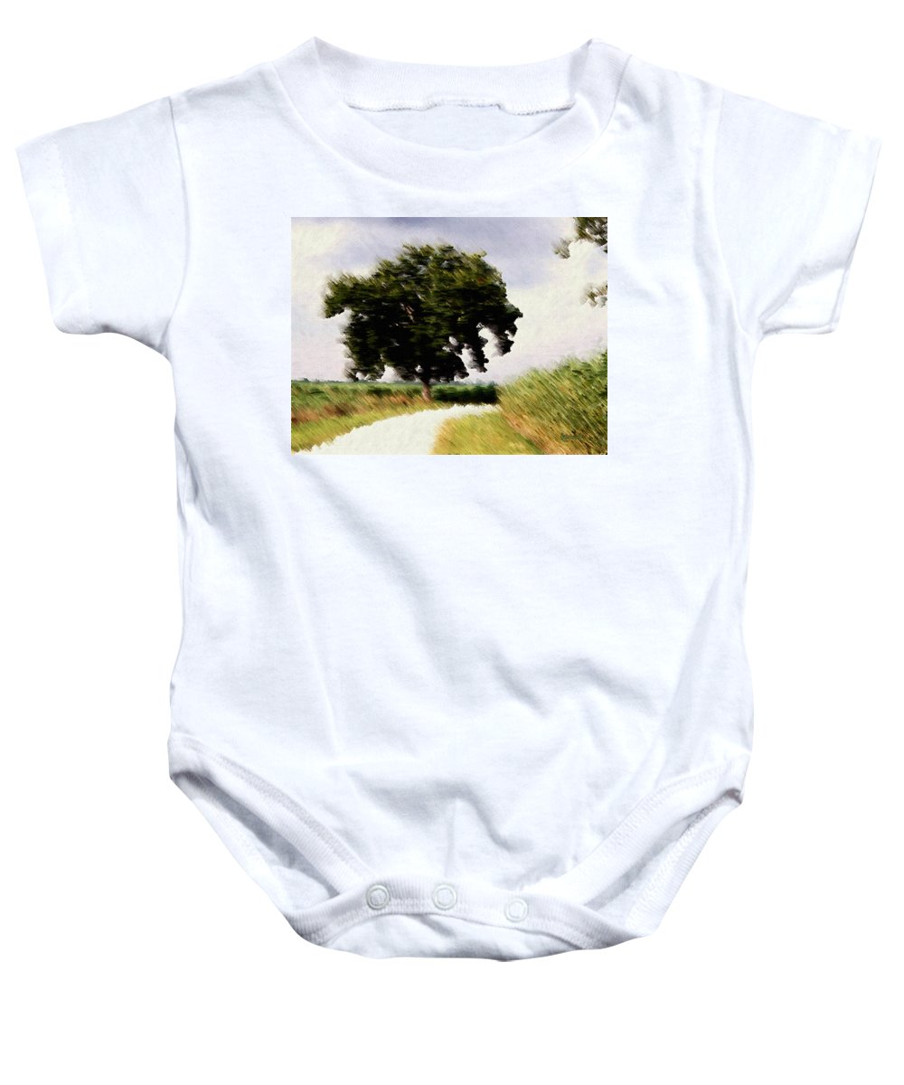 Breeze Baby Onesie featuring the digital art Wind Motif Old Dam Road by RC DeWinter
