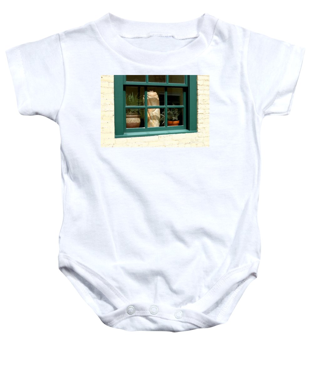 Fern Baby Onesie featuring the photograph Window At Sanders Resturant by Steve Augustin