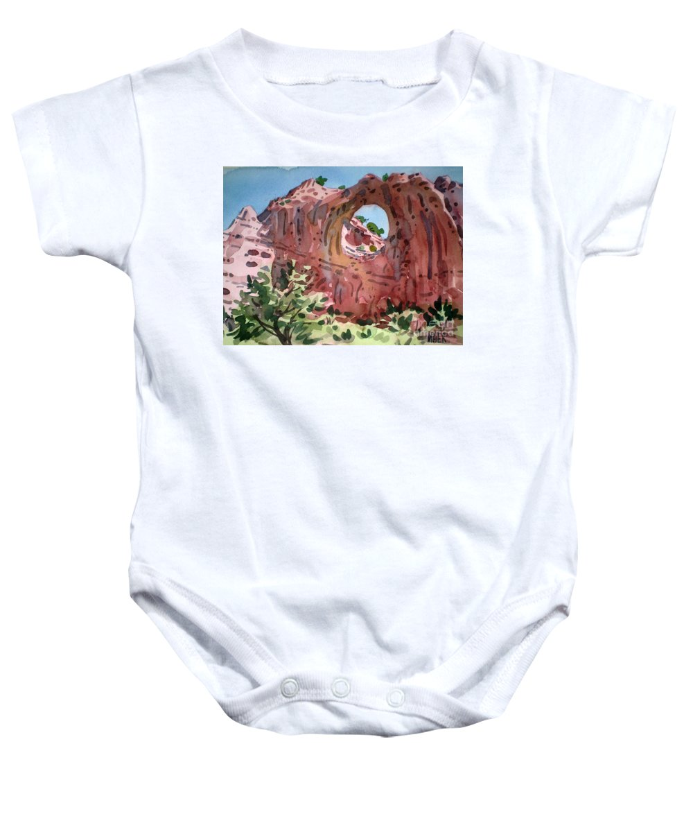 Navajo Tribal Park Baby Onesie featuring the painting Window Rock by Donald Maier