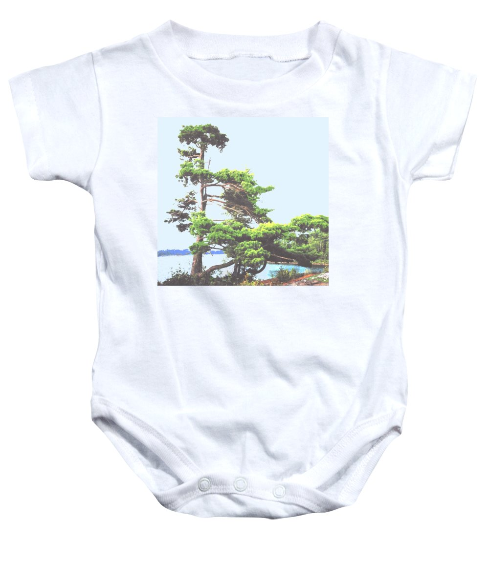 Pine Baby Onesie featuring the photograph Windswept by Ian MacDonald