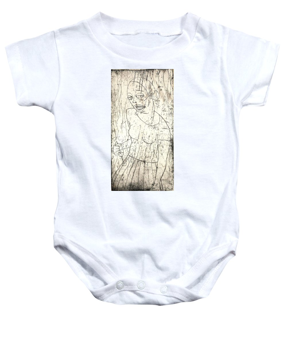 Clay Baby Onesie featuring the painting Wino by Thomas Valentine