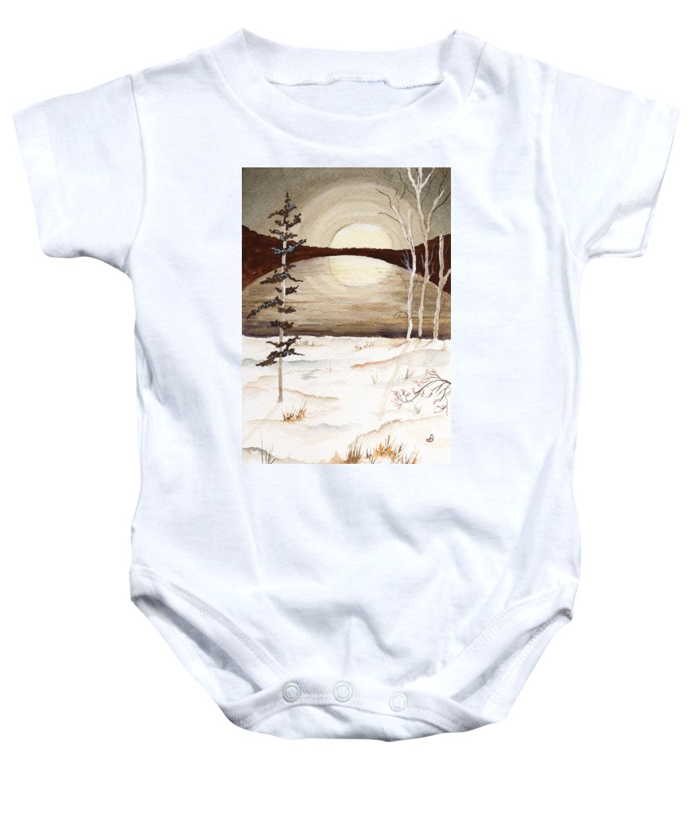 Watercolor Baby Onesie featuring the painting Winter Apex by Brenda Owen