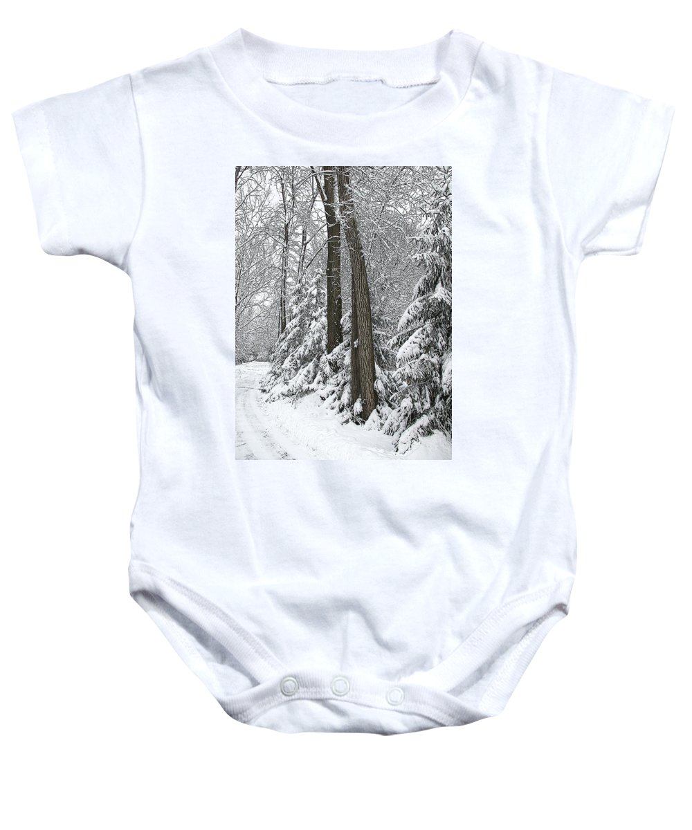 Winter Baby Onesie featuring the photograph Winter Drive by Tom Reynen