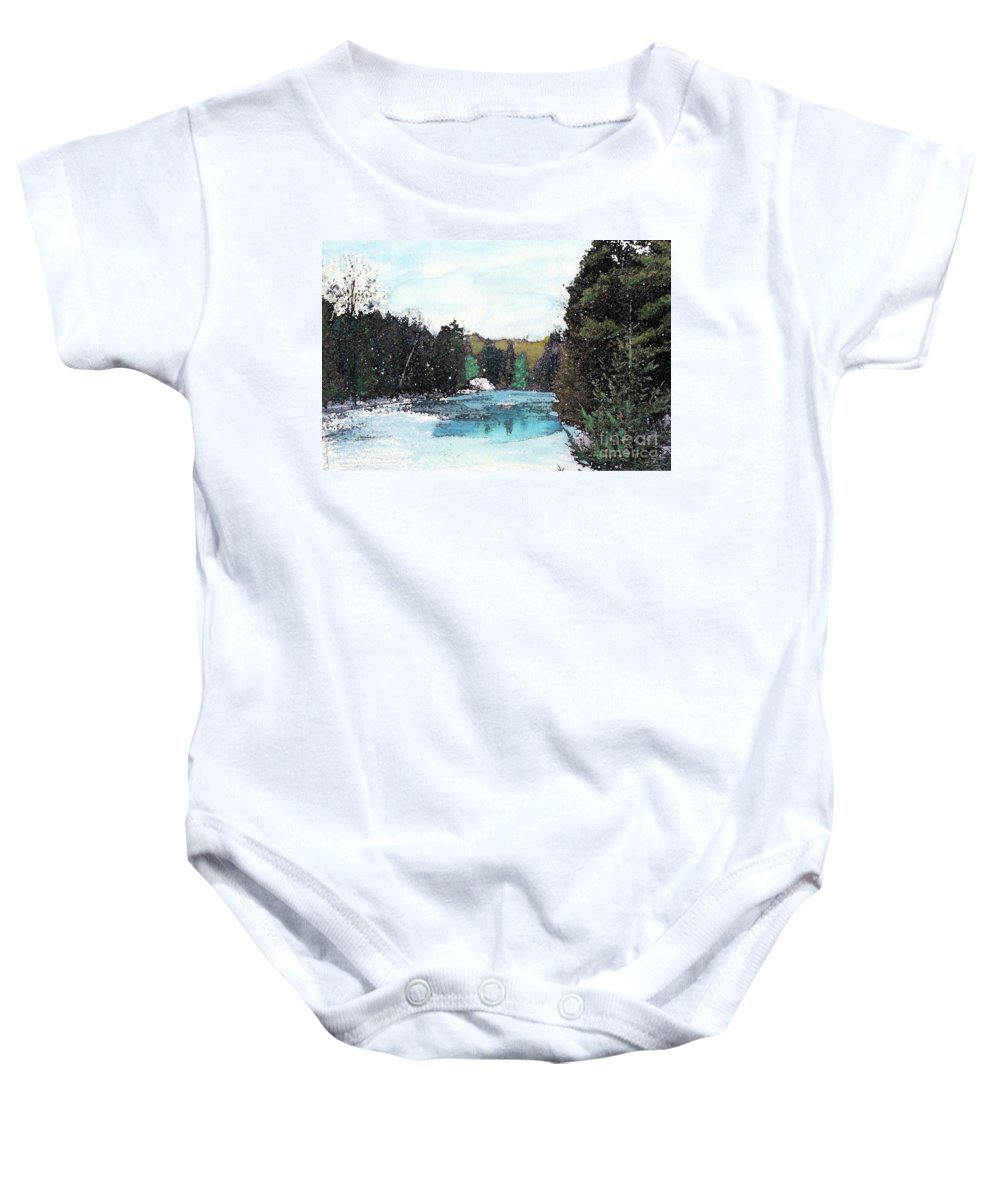 River Baby Onesie featuring the mixed media Winter In Kalkaska by Desiree Paquette