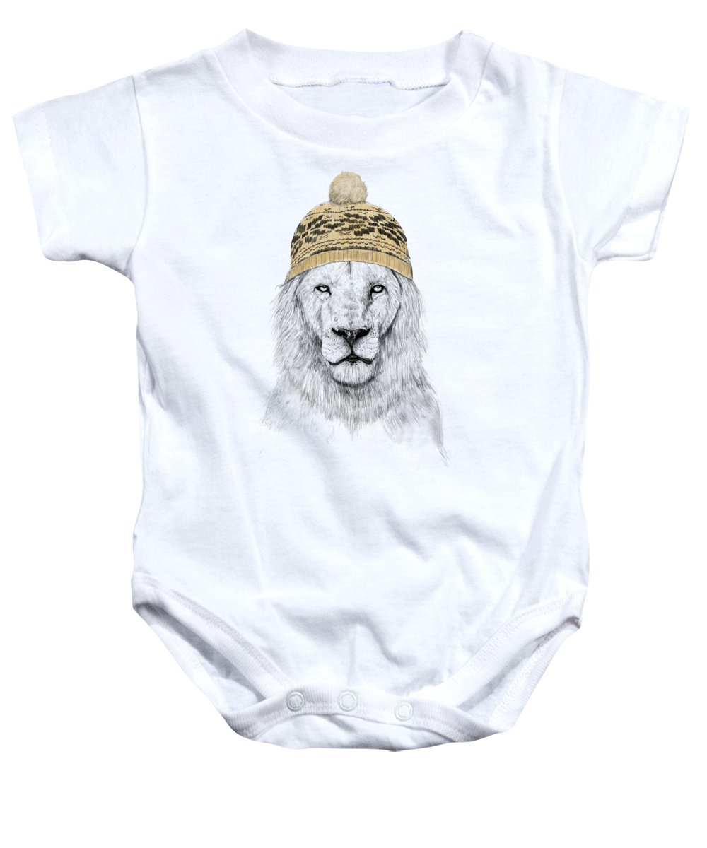 Lion Baby Onesie featuring the drawing Winter lion by Balazs Solti