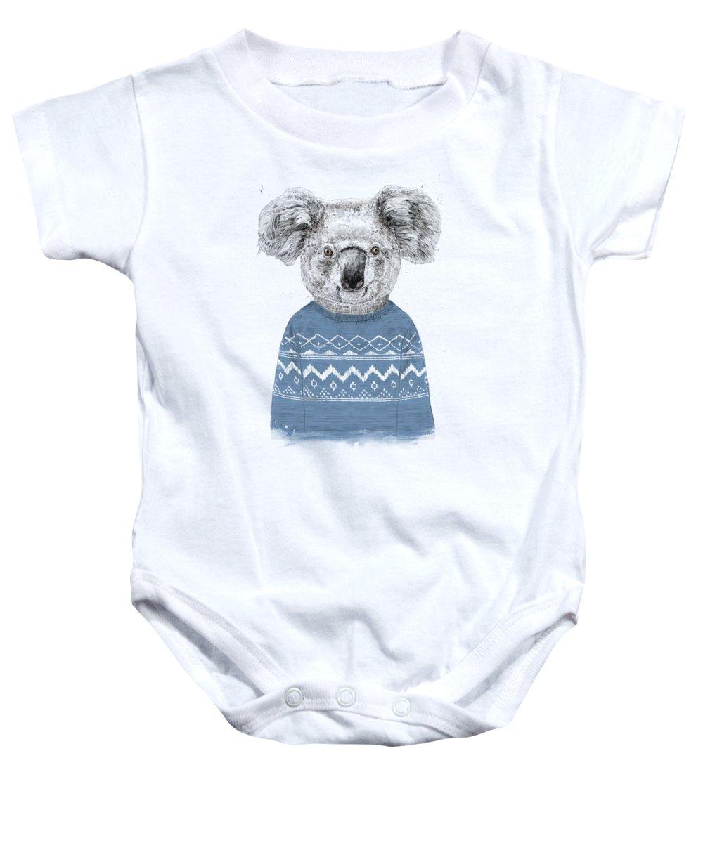 Koala Baby Onesie featuring the drawing Winter Koala by Balazs Solti