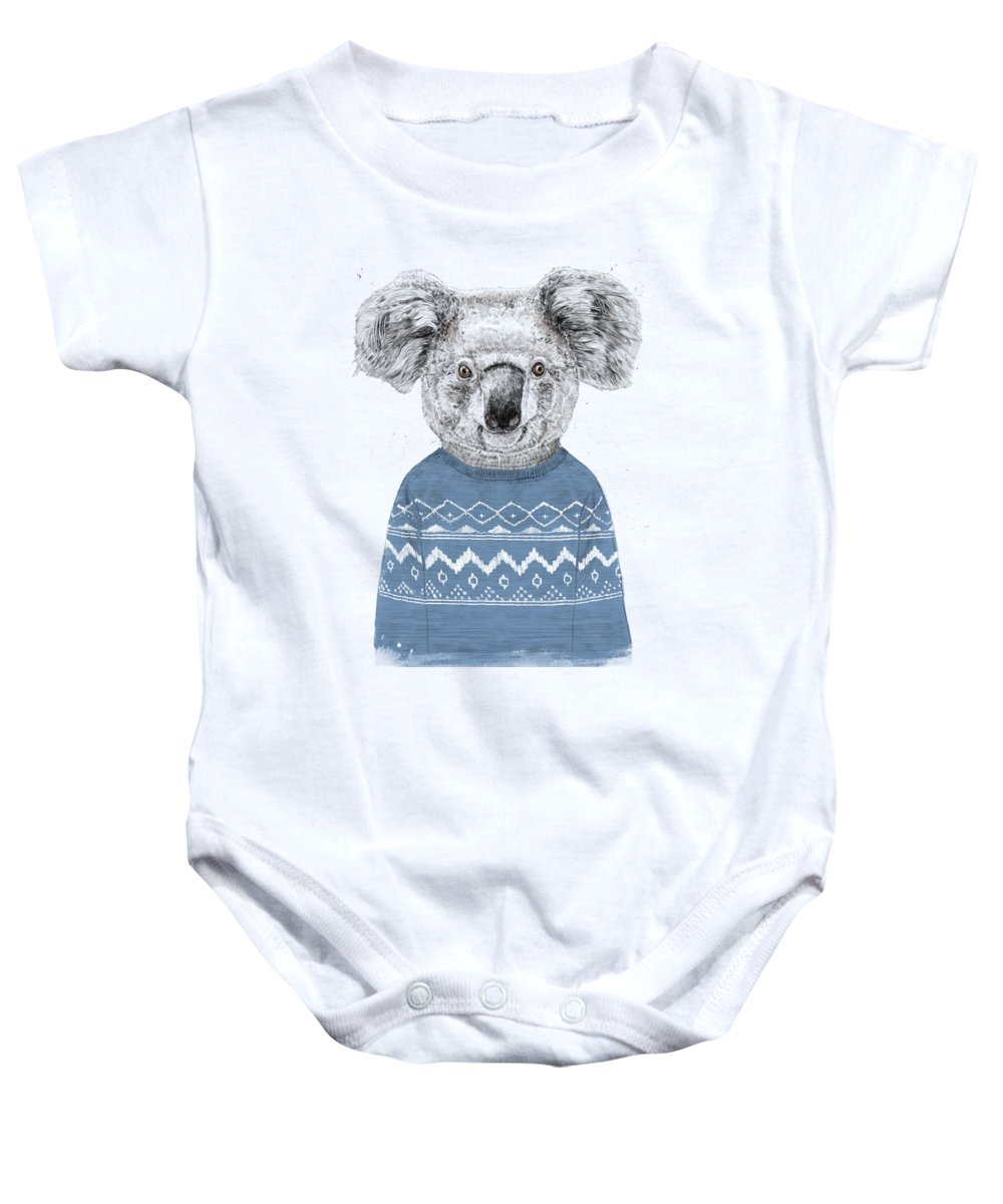 fe7006eb3 Koala Baby Onesie featuring the drawing Winter Koala by Balazs Solti
