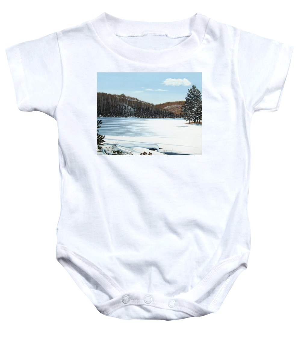 Landscapes Baby Onesie featuring the painting Winter On An Ontario Lake by Kenneth M Kirsch