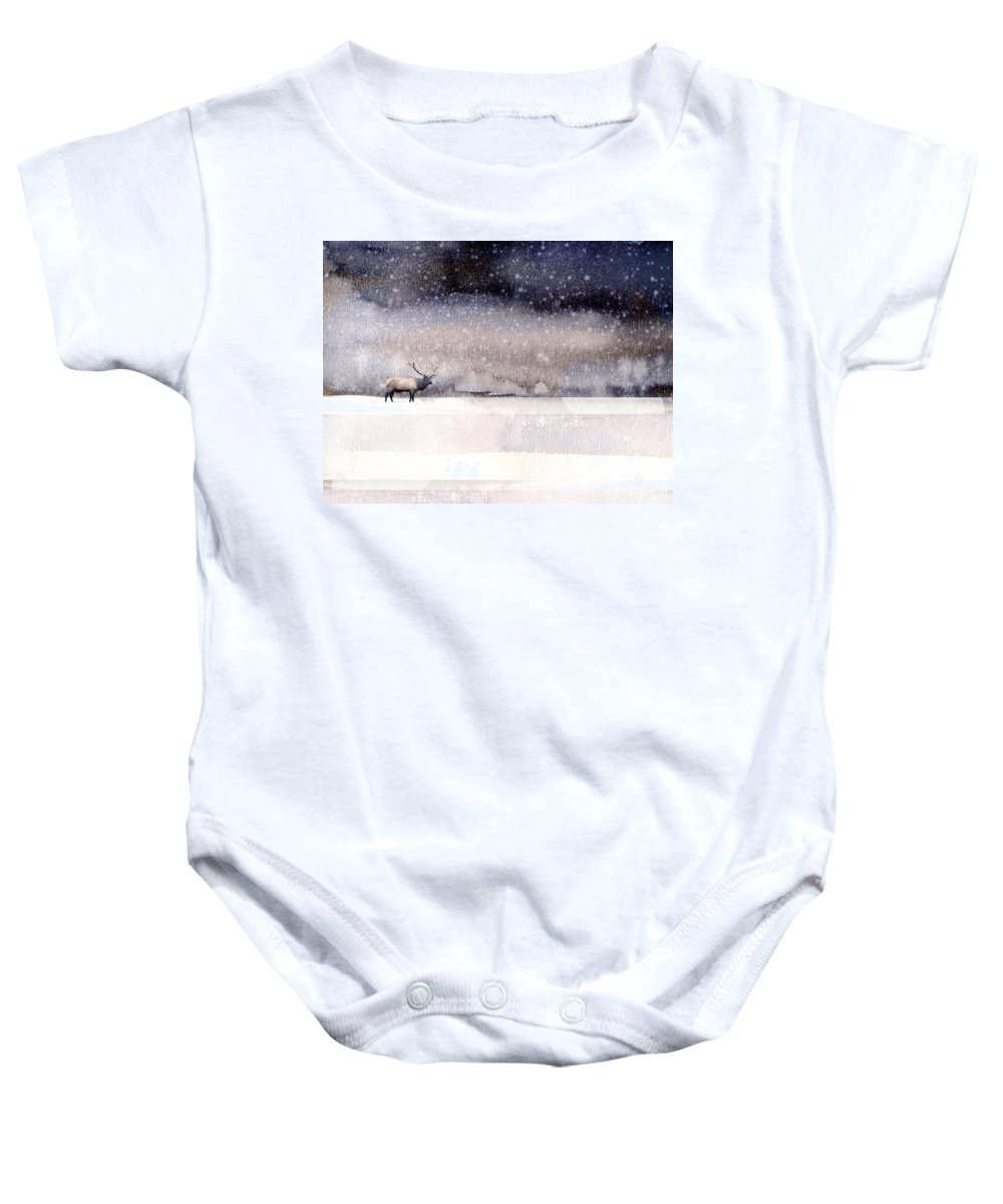 Nature Baby Onesie featuring the painting Winter Storm by Paul Sachtleben