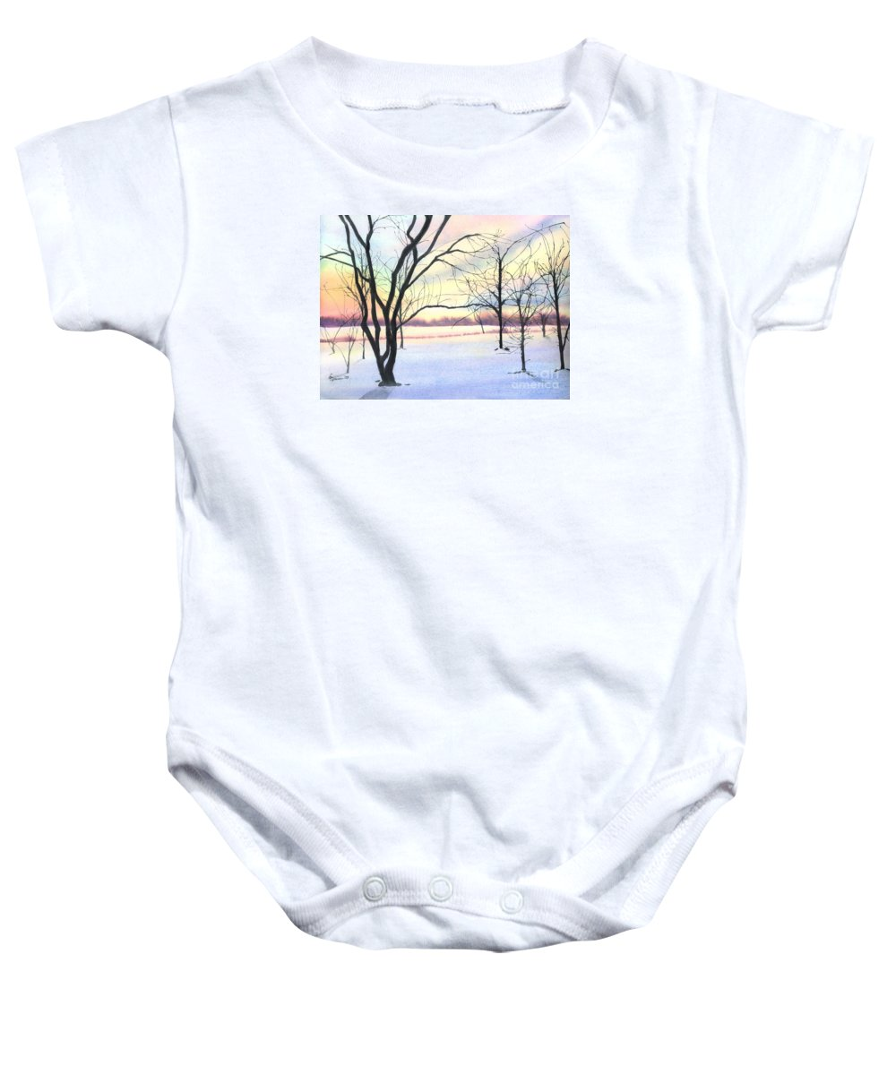 Sunrise Baby Onesie featuring the painting Winter Sunrise by Lynn Quinn