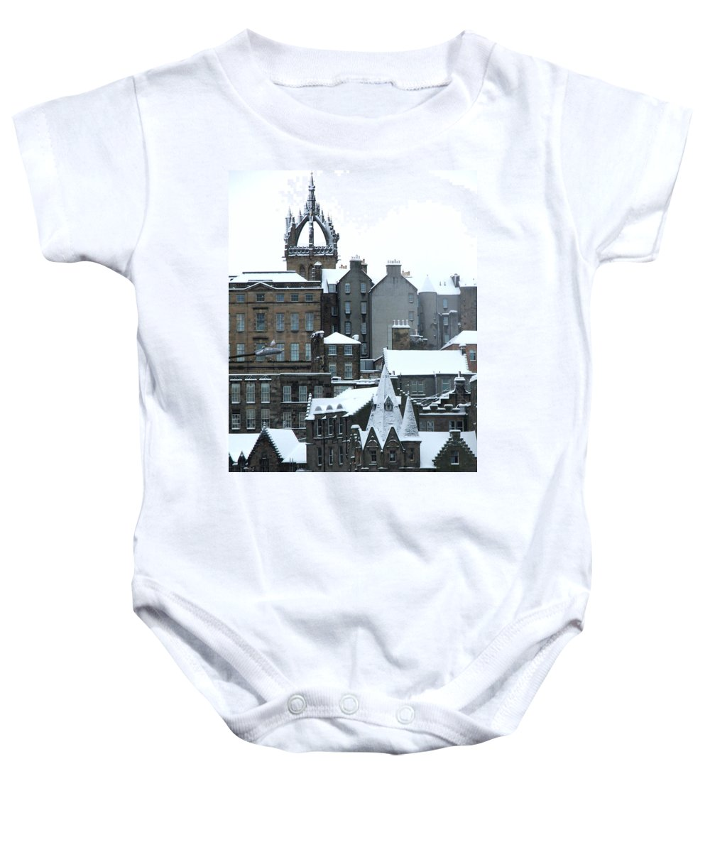 Scotland Baby Onesie featuring the photograph Winter Townscape Scotland by Heather Lennox