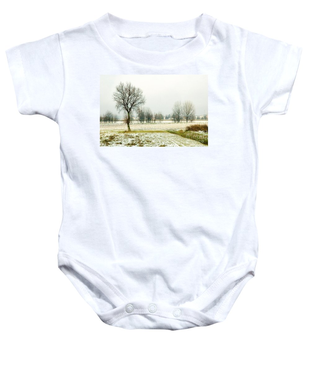 Bare Baby Onesie featuring the photograph Winter Trees by Silvia Ganora