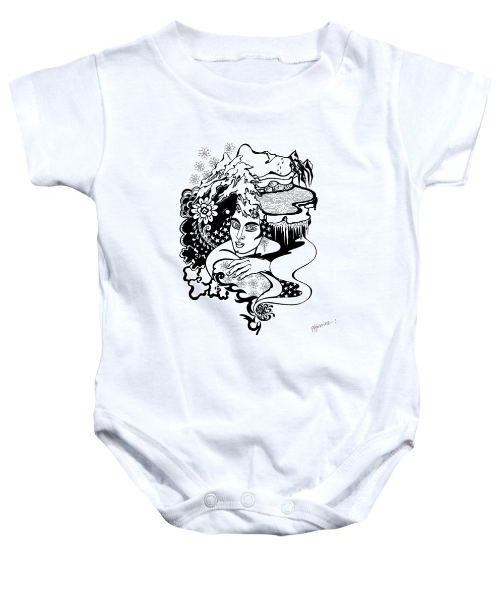 Snow Baby Onesie featuring the drawing Winter by Yelena Tylkina