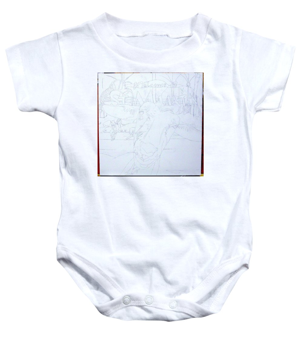 Baby Onesie featuring the painting Wip- Goats Of St. Martin- Sofie by Cindy D Chinn