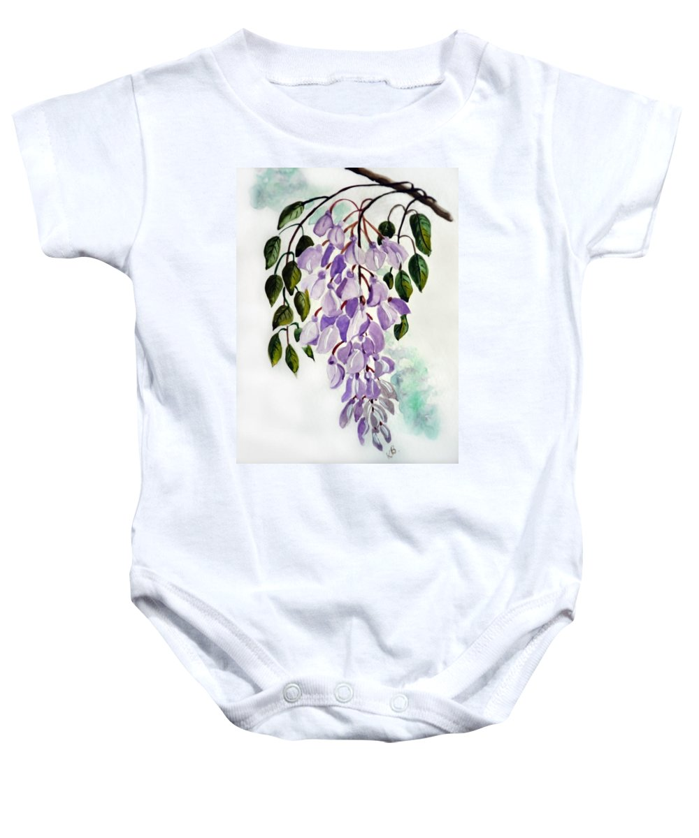 Floral Paintings Flower Paintings Wisteria Paintings Botanical Paintings Flower Purple Paintings Greeting Card Paintings  Baby Onesie featuring the painting Wisteria by Karin Dawn Kelshall- Best