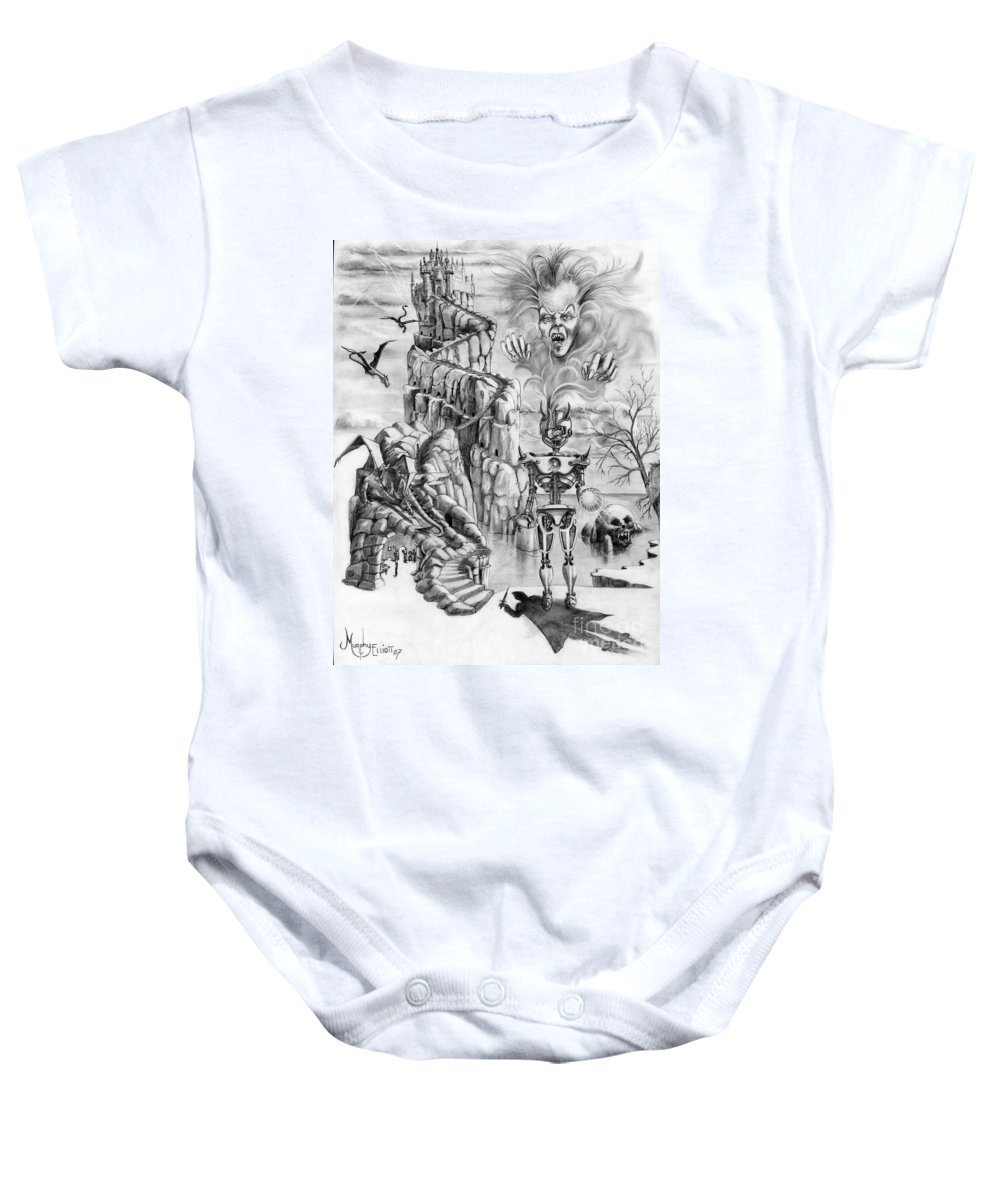 Witch Baby Onesie featuring the drawing Witch Hunter by Murphy Elliott