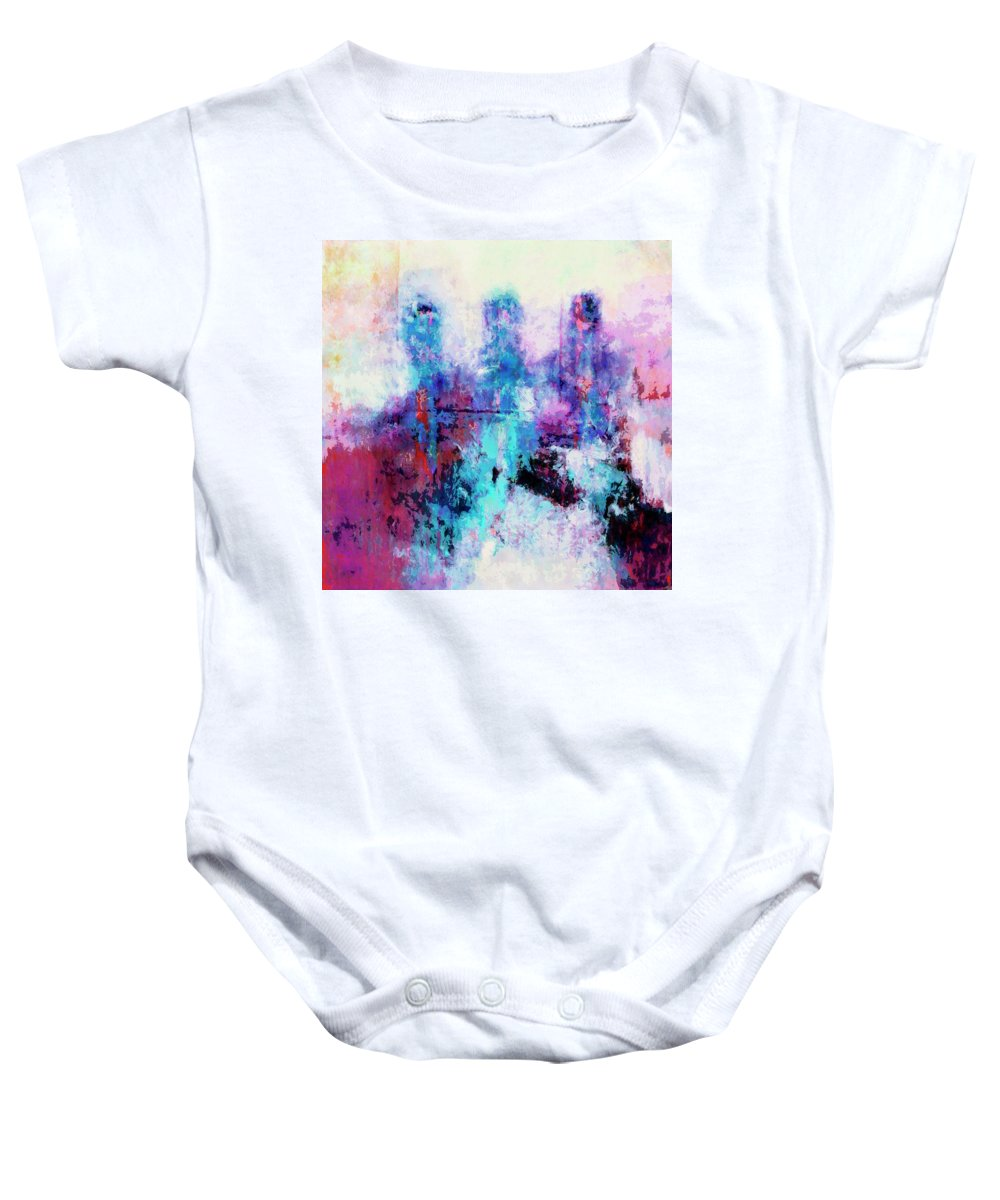 Abstract Baby Onesie featuring the painting Witnesses by Dominic Piperata