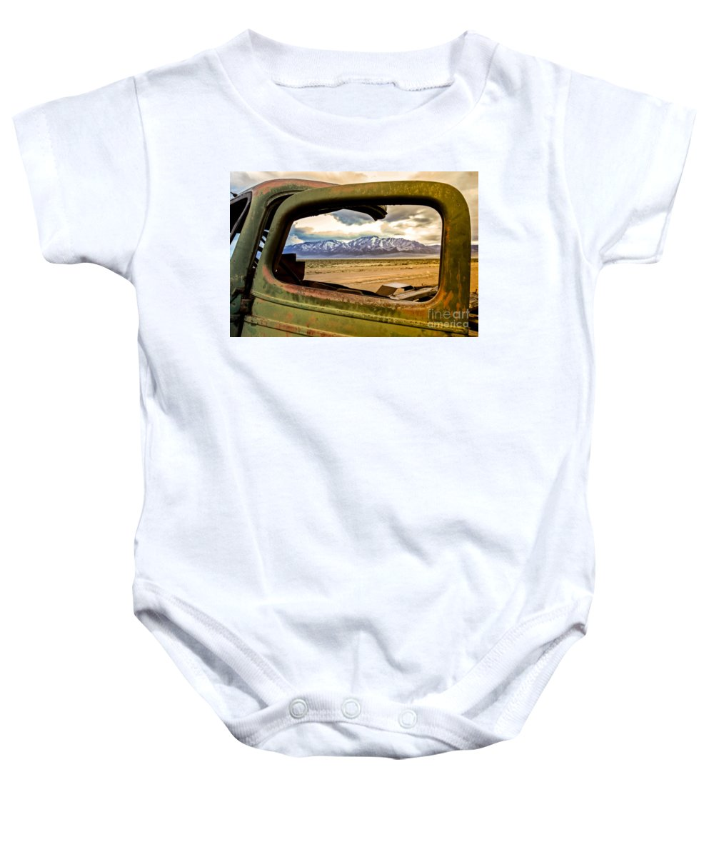 Transportation Baby Onesie featuring the photograph Wndow View by Robert Bales
