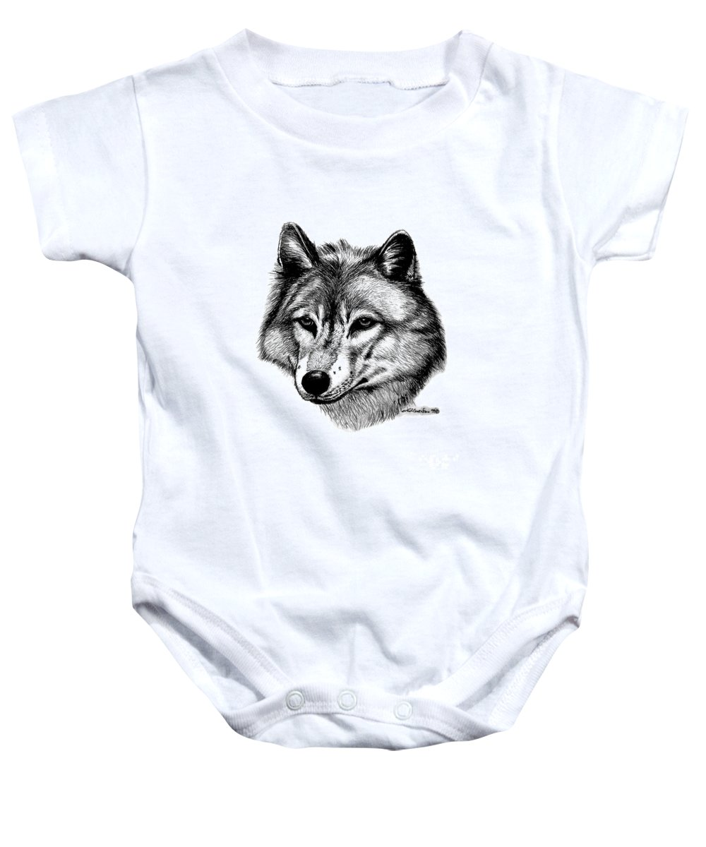 Wolf Baby Onesie featuring the drawing Wolf In Pencil by Nick Gustafson