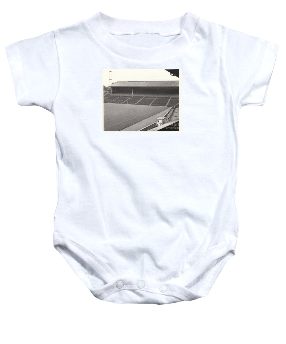 Baby Onesie featuring the photograph Wolverhampton - Molineux - South Terrace 1 - Bw - Leitch - September 1968 by Legendary Football Grounds