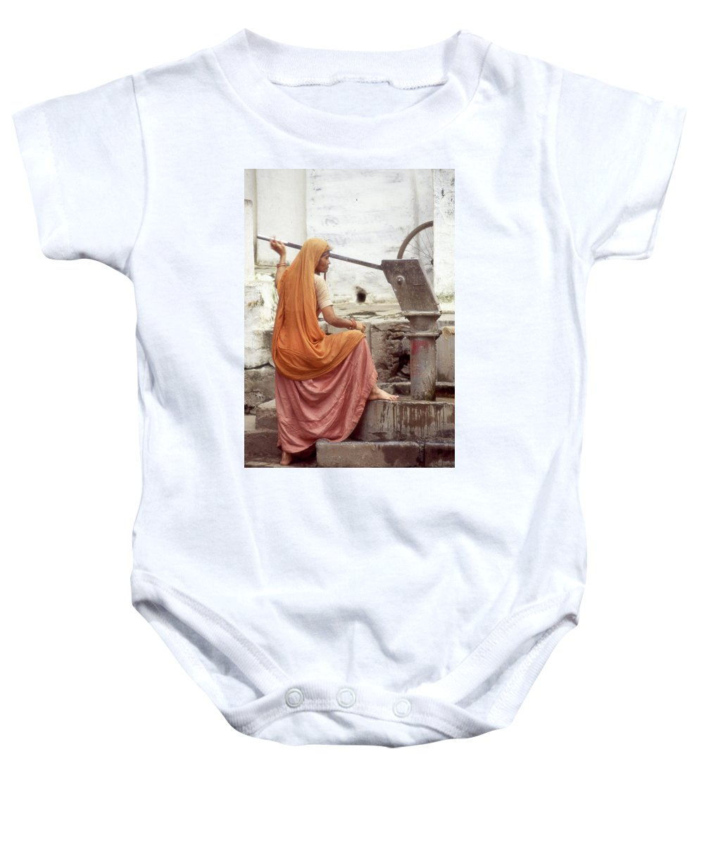 India Baby Onesie featuring the photograph Woman At The Pump by Dray Van Beeck