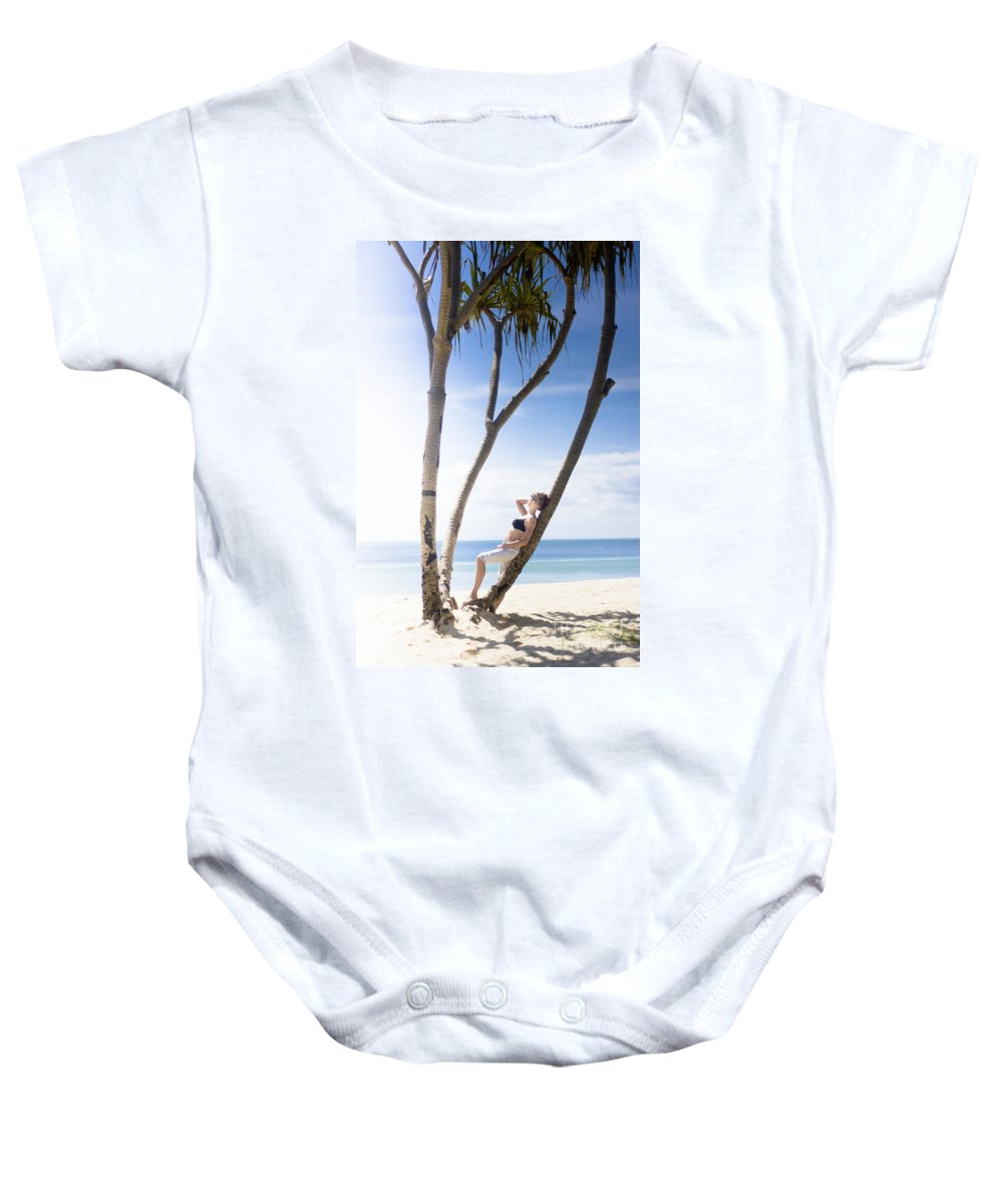 Adult Baby Onesie featuring the photograph Woman On Holiday by Jorgo Photography - Wall Art Gallery