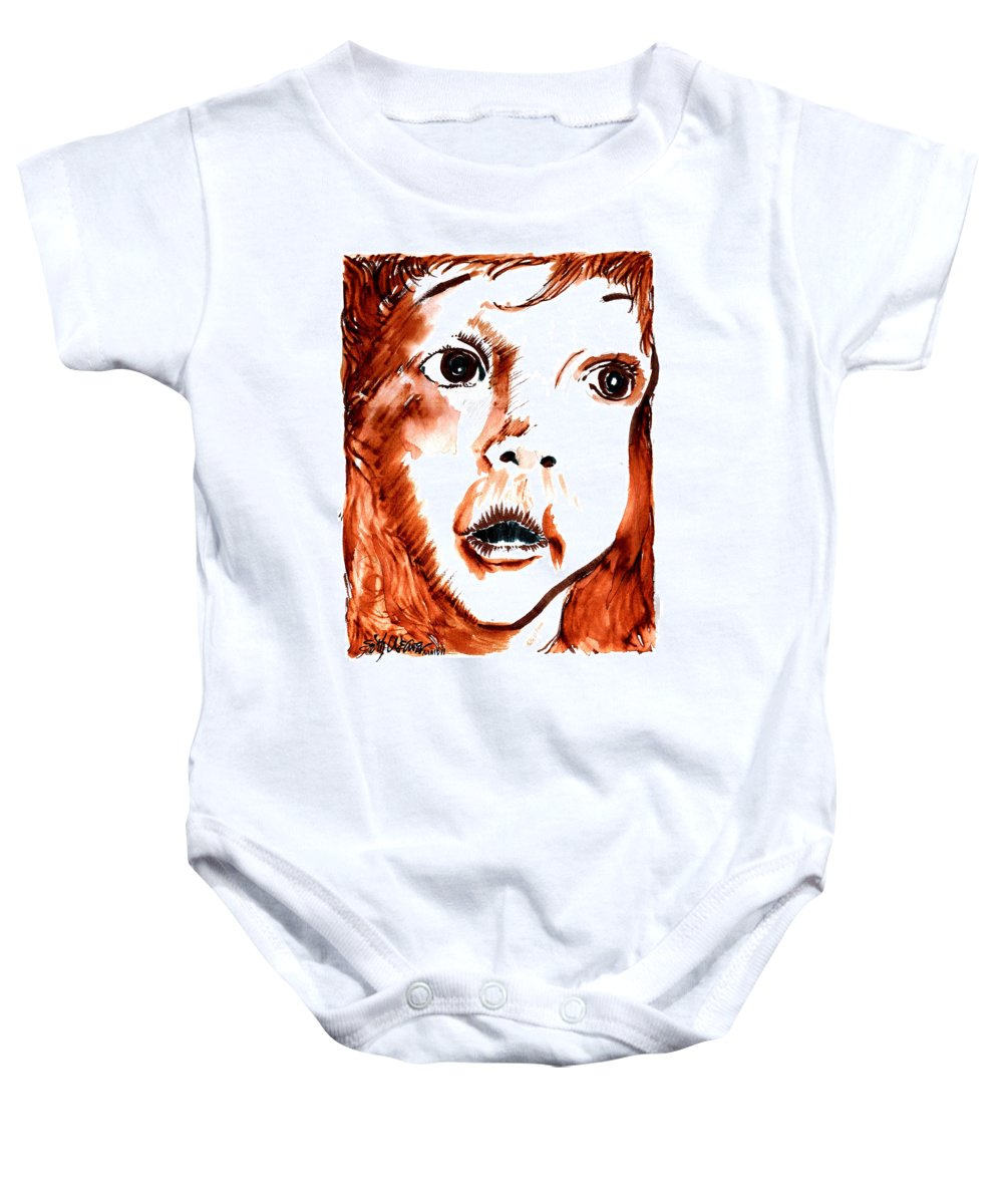 Wonder! Baby Onesie featuring the drawing Wonder by Seth Weaver