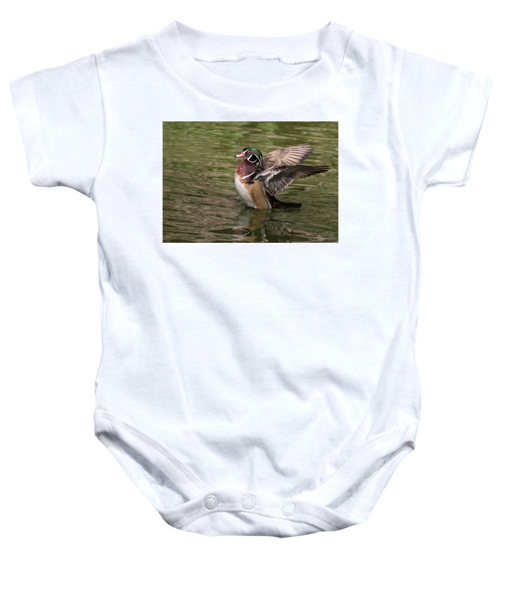 Wood Duck Baby Onesie featuring the photograph Wood Duck by Shirley Ramaley