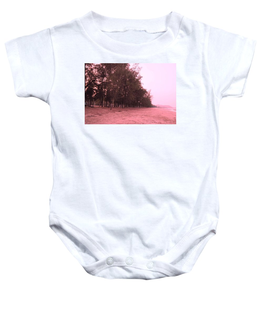 Landscape Baby Onesie featuring the photograph Woodlands At The Beach by Pusita Gibbs
